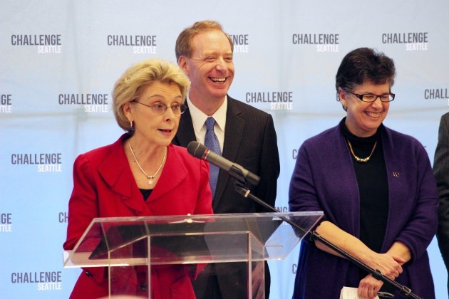 Former Washington Gov. Christine Gregoire — and CEO of Challenge Seattle — speaks at an event on Monday. Microsoft President Brad Smith and University of Washington President Ana Mari Cauce joined her on stage.