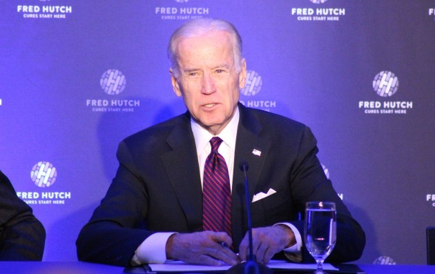 U.S. Vice President Joe Biden speaking at Fred Hutchinson Cancer Research Center. (GeekWire photos)