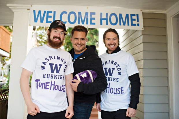 Co-founder Lucas Brown, CEO Peter Hamilton, and Co-founder Lee Brown in front of the TUNE house.