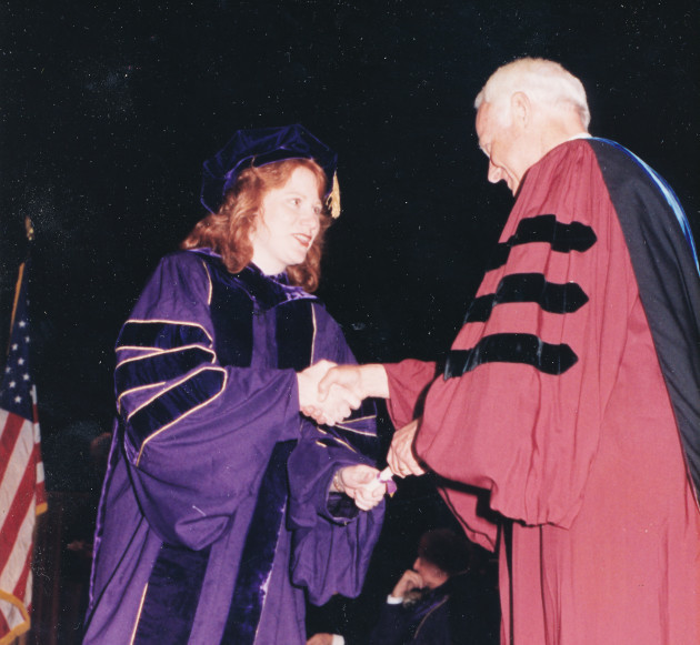 Cathy Palmer at her graduation ceremony in 1995 for her doctorate in computer science.