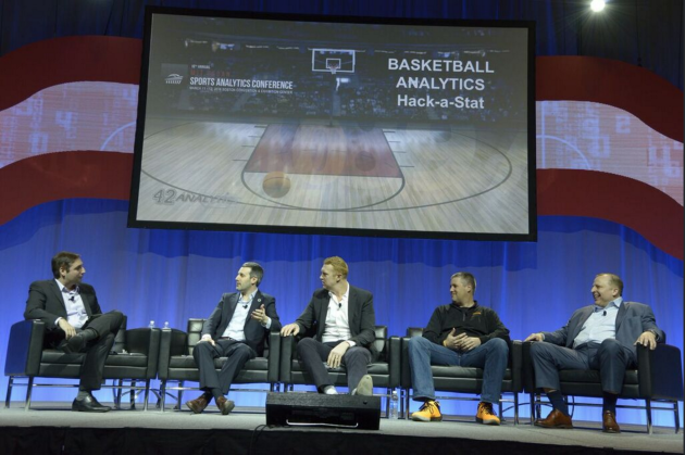 The basketball analytics panel, from left to right: ESPN NBA writer Zach Lowe; Boston Celtics Assistant General Manager Mike Zarren; former NBA forward Brian Scalabrine; Catapult Sports CEO Brian Kopp; and former NBA head coach Tom Thibodeau. Photo via SSAC.