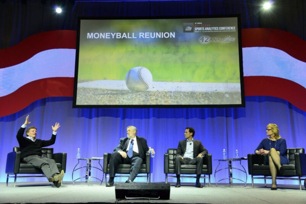 """The """"Moneyball Reunion"""" panel included author Michael Lewis, baseball statistician Bill James, former Oakland Athletics data expert Paul DePodesta, and ESPN reporter Jackie MacMullan. Photo via Sloan Sports Analytics Conference."""