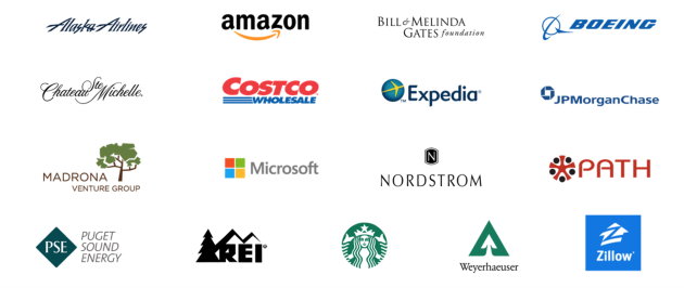 The companies participating with Challenge Seattle.