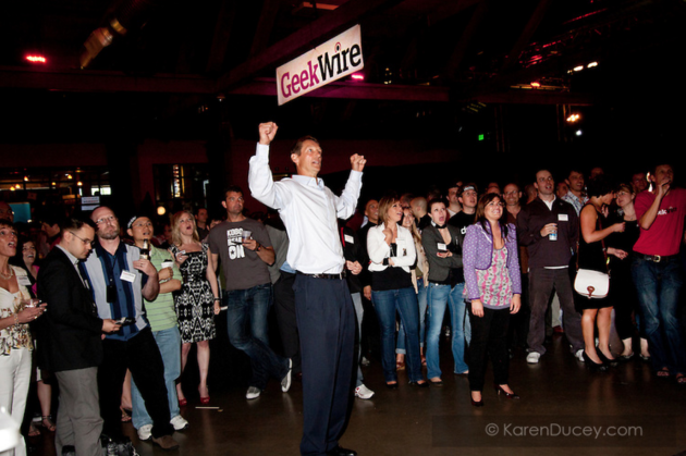 Former NBA star Detlef Schrempf, who appeared at the GeekWire launch party five years ago, will be back for our 5th Anniversary Bash. Photo: Karen Ducey.