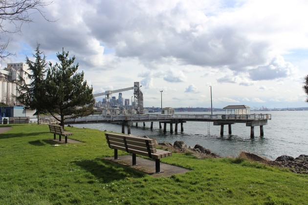 Just outside of Expedia's new campus, Centennial Park offers nice views of Puget Sound and downtown Seattle.