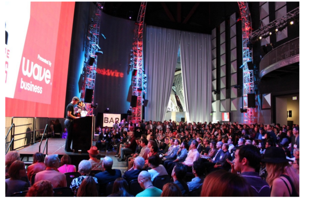 A packed house at the 2015 GeekWire Awards. Who will take home the robot this year?