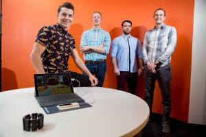 MultiModal health team members, left to right: Director of Operations Lars Crawford, Lead Hardware Developer Brian Mogen, Software Engineer Dimitrios Gklezakos, and Lead Software Developer Tyler Libey.