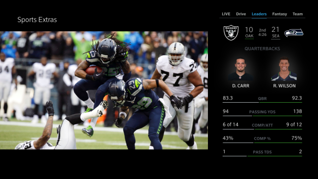 The X1 Sports app on Comcast.