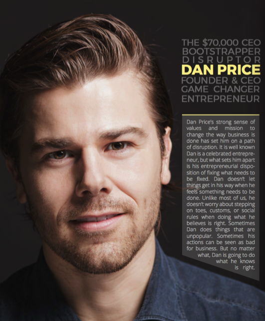 The introductory page for Dan Price's personal media kit.