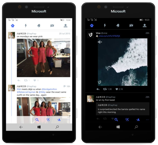 The update enable the latest Twitter features on smartphones running Windows 10. Image via Microsoft.