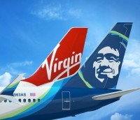 Virgin America and Alaska Airlines tails