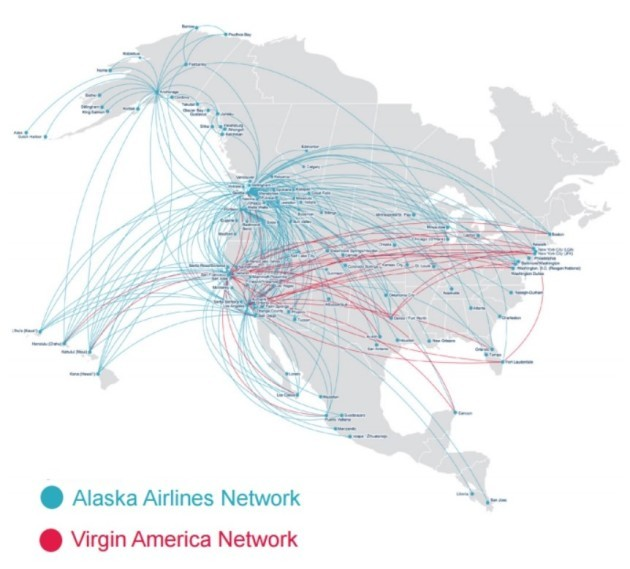 Image: Alaska Airlines and Virgin America routes