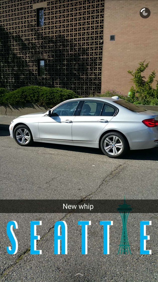 """Sending out a Snapchat message about my """"new car."""""""