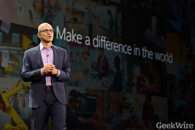 Microsoft CEO Satya Nadella speaks at Microsoft Envision in New Orleans earlier this year. Photo by Kevin Lisota / GeekWire.