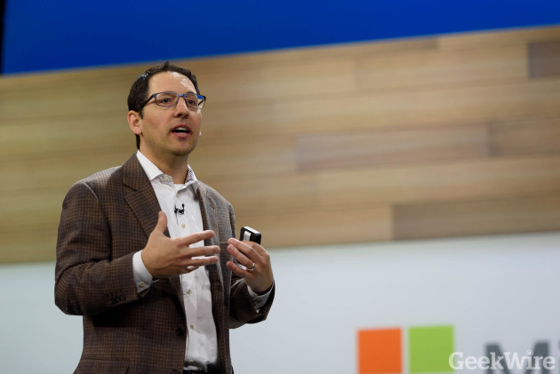 Microsoft Chief Marketing Officer Chris Capossela speaks at Microsoft Envision in New Orleans earlier this year. Photo by Kevin Lisota / GeekWire.