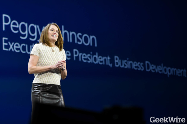 Microsoft executive Peggy Johnson announced the blockchain partnership at Microsoft's Envision conference in New Orleans this morning. (GeekWire Photo, Kevin Lisota.)