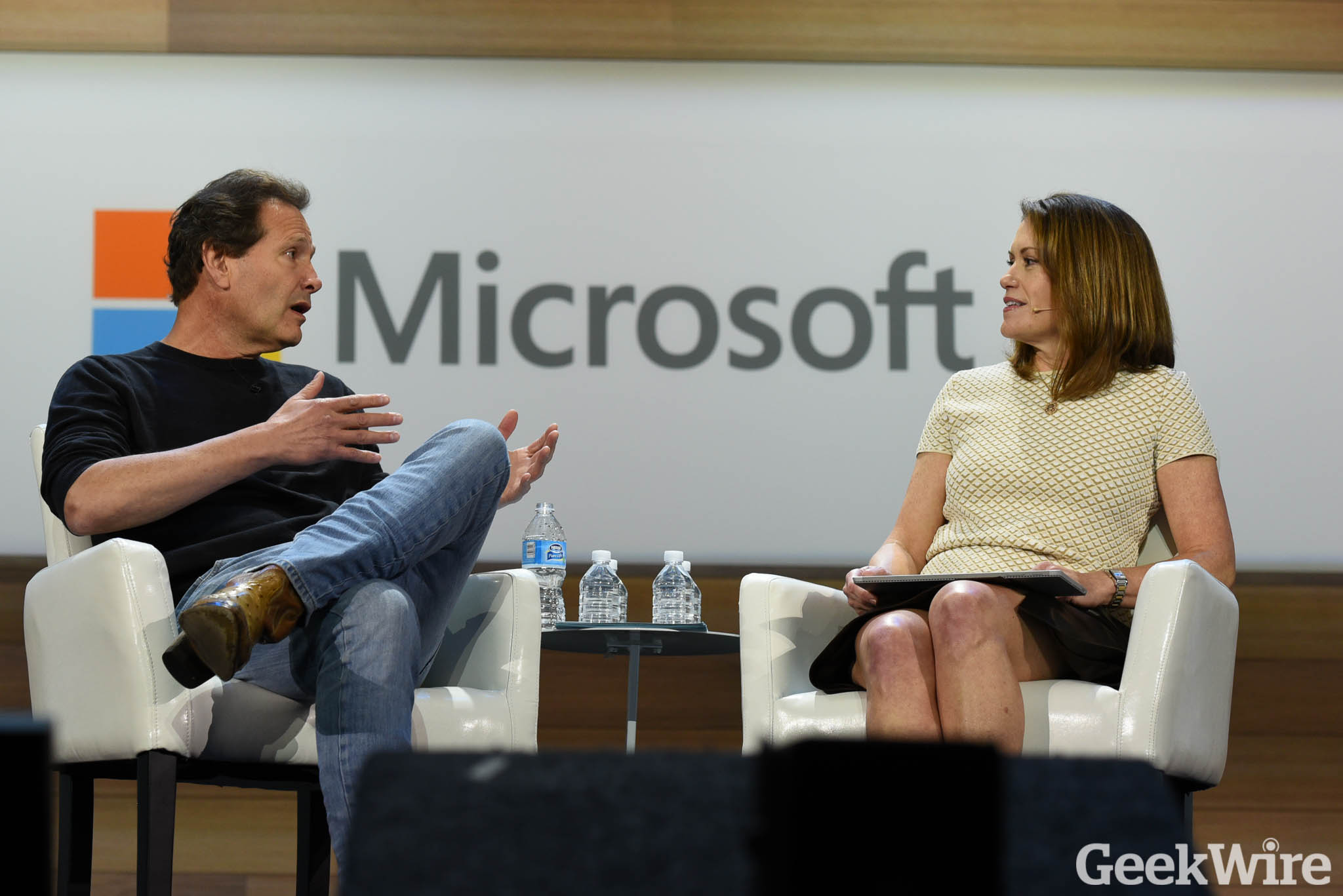 PayPal's Dan Schulman and Microsoft's Peggy Johnson discuss payments and digital currency at Microsoft's Envision conference on Monday in New Orleans