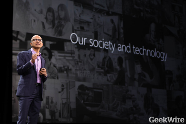 Microsoft CEO Satya Nadella speaks at Microsoft Envision in New Orleans last week.