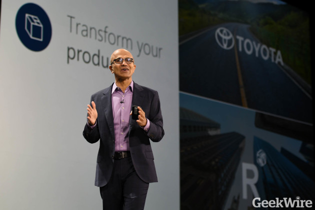 Microsoft CEO Satya Nadella delivers a keynote address at the company's first-ever Envision conference in New Orleans.
