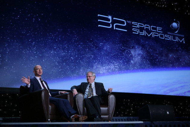 Amazon and Blue Origin Founder Jeff Bezos at the 32nd Annual Space Symposium, interviewed by GeekWire space and science editor Alan Boyle. (Photo Credit: Space Foundation)