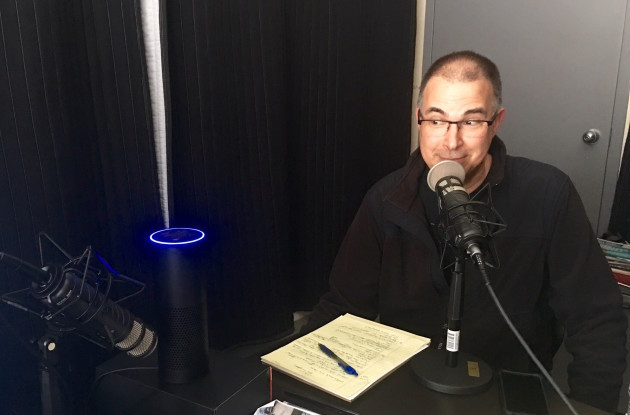GeekWire contributor Frank Catalano with Amazon Echo, recording this week's show.