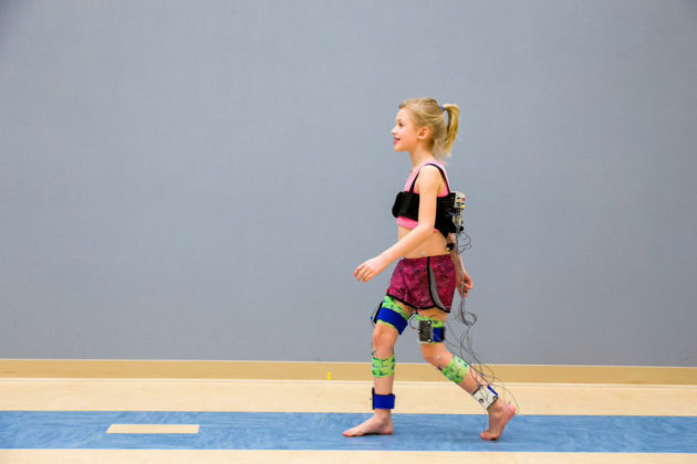 A child undergoing an assessment of her gait and motion at Gillette Children's Specialty Healthcare in St. Paul, Minn. (Photo Gillette Children's Specialty Healthcare)
