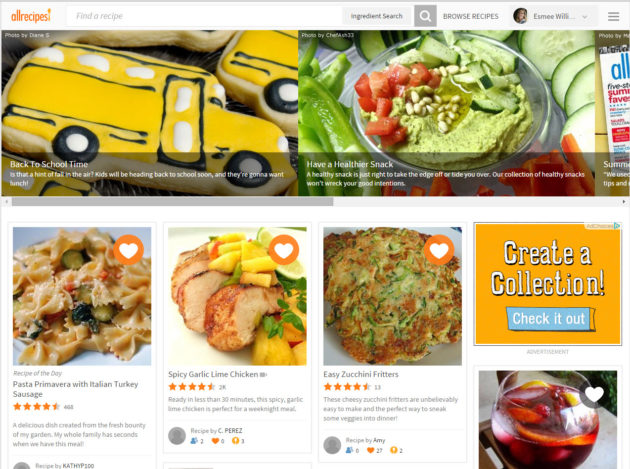 Photos and sharing features are front and center on Allrecipes new homepage.