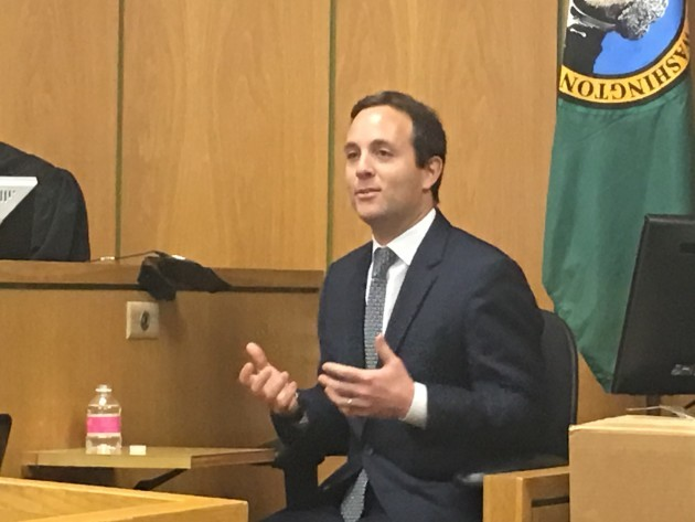 Zillow CEO Spencer Rascoff testifies at an earlier hearing in King County Superior Court in Seattle. (GeekWire Photo)