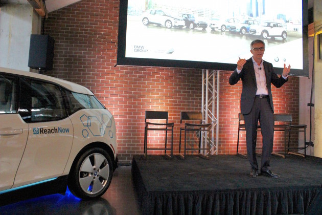 Peter Schwarzenbauer, member of the Board of Management of BMW AG, speaks in Seattle at the ReachNow launch event this past May.