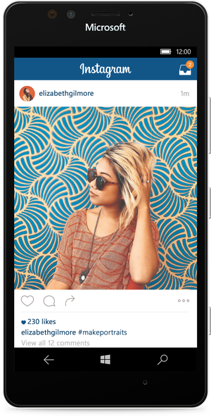 The updated Instagram app for Windows 10 Mobile. Image via Facebook