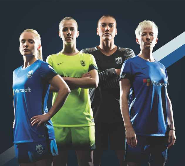 Seattle's professional women's soccer club, Seattle Reign FC, will wear jerseys with Microsoft branding this season. Photo via Seattle Reign FC.