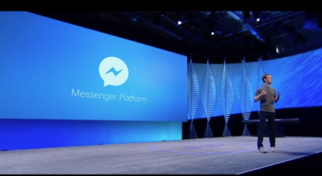 Facebook CEO Mark Zuckerberg announces chatbot platform at the F8 developers conference.