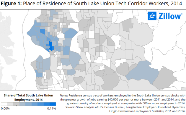 More than half of South Lake Union tech workers live outside of