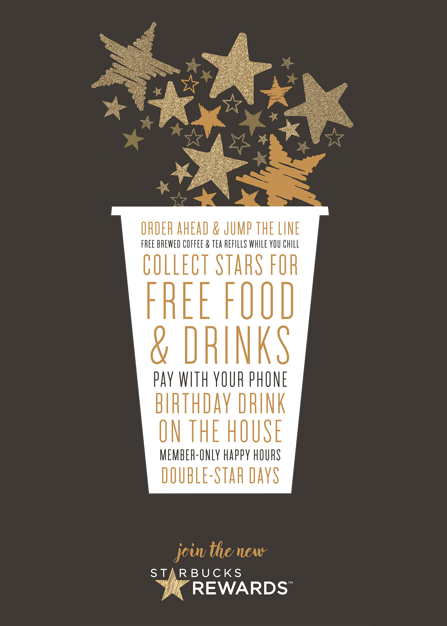 Earn 2 Stars for every dollar you spend in participating stores (including airports). Once you reach Gold Status, you'll get a Reward every Stars, good for free food or drink at a participating Starbucks .