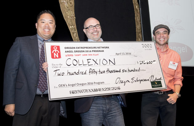 Collexion CEO Peter Kirwan with his $252,600 prize. Photo via OEN.