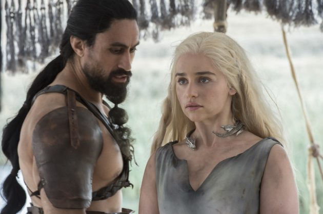 Joe Naufahu as Khal Moro and Emilia Clarke as Daenerys Targaryen. (Credit: Macall B. Polay/HBO)