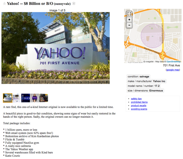 For sale on Craigslist: Used but restorable Yahoo for $8
