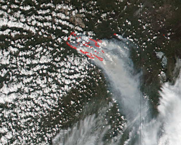 Suomi NPP image of wildfires