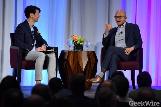 Microsoft CEO Satya Nadella, right, with GeekWire chairman and PicMonkey CEO Jonathan Sposato at the Tech Alliance luncheon on Monday, May 2, 2016.