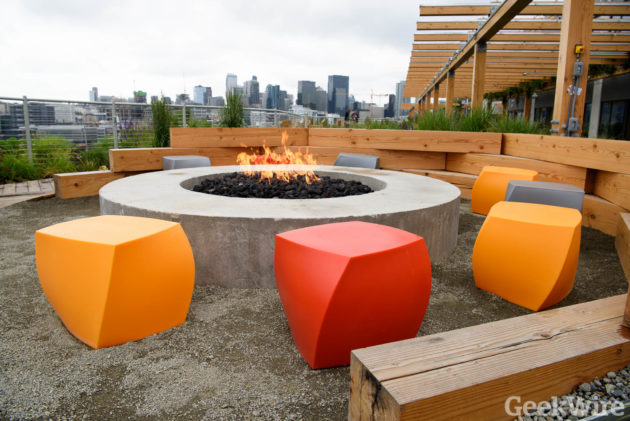 The rooftop deck at Facebook Seattle, complete with fire pit and walking trails. (Photo: Kevin Lisota)