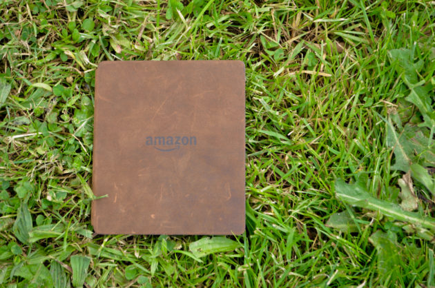The rough leather cover is sure to age well, but it also shows off just how much abuse a Kindle can take in a week of testing.