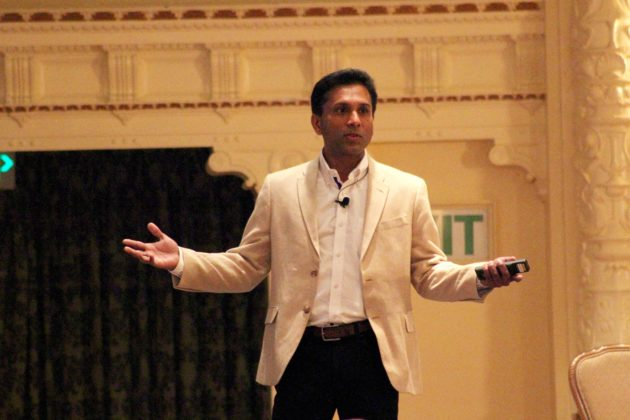 Joseph Sirosh, corporate vice president of Data Group and Machine Learning at Microsoft, speaks at Madrona Venture Group's machine learning event in Seattle on Wednesday.