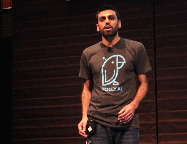Polly CEO Samir Diwan pitches at Techstars Seattle 2016 Demo Day.