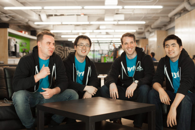 Chris Pitchford (Dir. of Growth), Daniel Chen (CTO), Brett Patrontasch (CEO), Kyle Liu (Lead Mobile Developer).