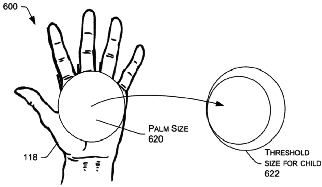 The patent uses palm size to help determine if a user is a child or an adult.
