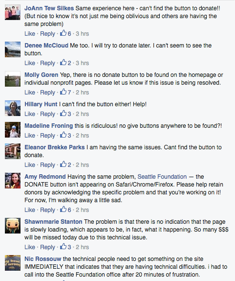 Users express frustration on The Seattle Foundation's website.