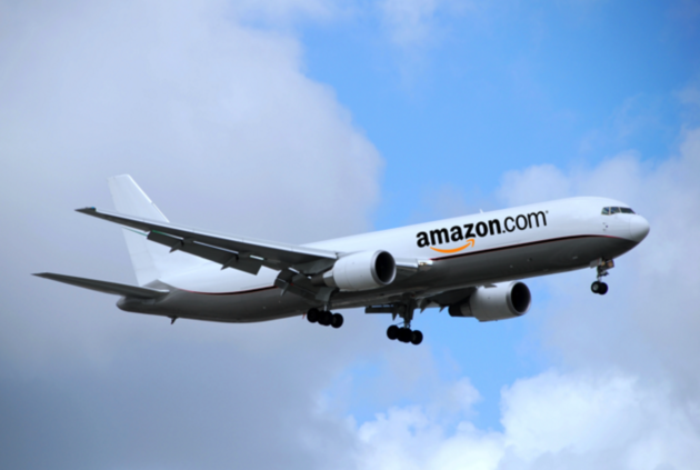 Amazon continues its expansion into the air freight business. GeekWire illustration