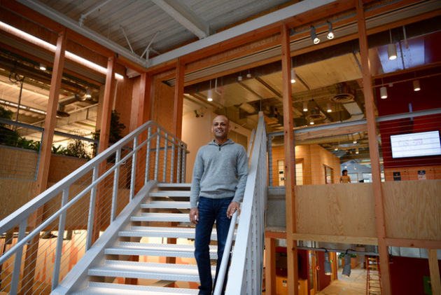 Jay Parikh, vice president of engineering for Facebook, inside the new offices this morning.