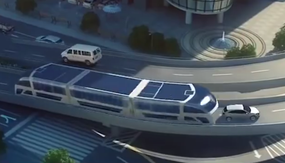 Video: Futuristic Chinese bus glides over the top of cars ...