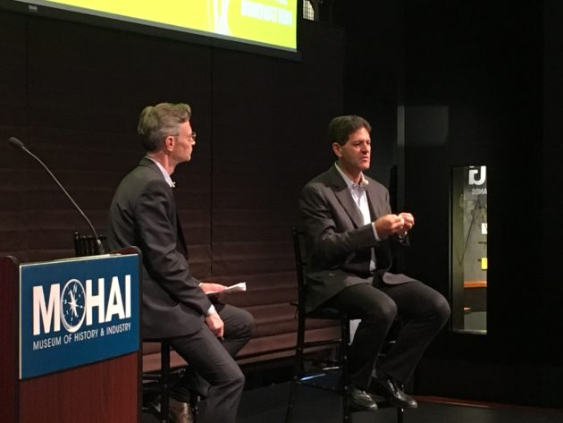 Seattle venture capitalist Nick Hanauer, right, speaks with MOHAI executive director Leonard Garfield.
